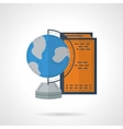 Flat color globe and books icon vector image