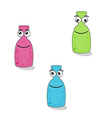 funny bottles with eyes and smile vector image vector image