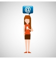 girl smartphone user mail chat vector image vector image