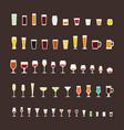 glass types flat icons set