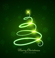 glowing christmas tree in green background vector image vector image