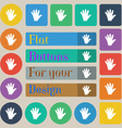 hand icon sign Set of twenty colored flat round vector image