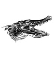 Hand sketch crocodile head vector image vector image