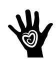 hand with heart icon logo stock vector image vector image