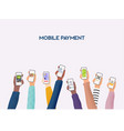 hands holding phones with differed type vector image vector image