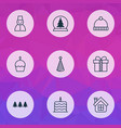happy icons set with cupcake snowman trees and vector image