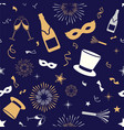 happy new year seamless pattern in blue vector image vector image