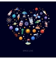 Heart flat design composition of space icons and vector image