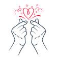 icon korea finger heart linear style vector image vector image