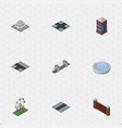 Isometric city set of barrier phone box vector image