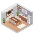 isometric kitchen interior with tv vector image vector image