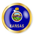 kansas flag button vector image vector image