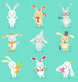 Little girly cute white bunny cartoon character