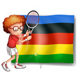 Olympics flag and tennis player vector image vector image