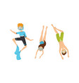 people characters wearing swim fins and goggles vector image vector image