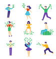people playing and having fun with money set vector image