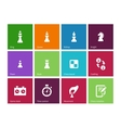 Playing chess icons on color background vector image vector image