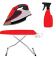 Red ironing board iron and spray vector image vector image