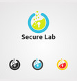 secure lab logo icon element and template for vector image vector image