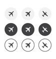 set 3 simple design airplane icons rounded vector image