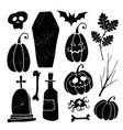 set grunge halloween graphic elements black vector image