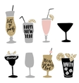 set hand drawn alcoholic cocktails vector image vector image