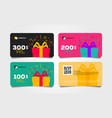 shopping gift cards template set with gift box and vector image vector image