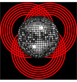Silver disco ball on circle pattern over black vector image vector image