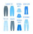 trendy models women jeans types flat vector image vector image