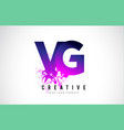 vg v g purple letter logo design with liquid vector image vector image