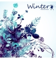 Watercolor winter leaves background vector image