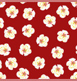 white plum blossom flower seamless on red vector image vector image