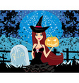 witch with Halloween pumpkin vector image