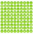 100 barbecue icons set green circle vector image vector image