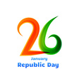 26th republic day celebration design vector image vector image
