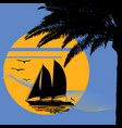 a tropical evening sunset with palm tree vector image vector image