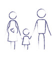 blurred blue contour of pictogram parents with vector image vector image
