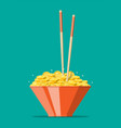 bowl full gold coins and chopsticks vector image vector image