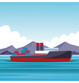 cargo ship cartoon vector image