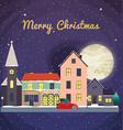 Christmas background with fairy tale houses Winter vector image vector image