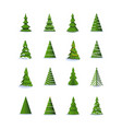 christmas tree in different styles set vector image vector image