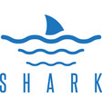 design template of the shark fin and waves vector image vector image