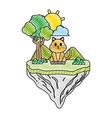 doodle cute cat animal in float island vector image