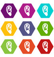 ear icon set color hexahedron vector image