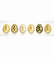 easter golden eggs set vector image
