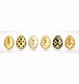 easter golden eggs set vector image