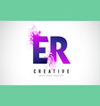 er e r purple letter logo design with liquid vector image vector image