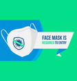 face mask is required to entry horizontal banner vector image vector image