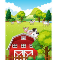 Farm scene with cows and barn vector image vector image