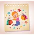 girl shopping note paper cartoon vector image vector image